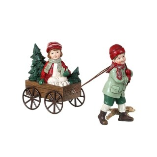 8 Inch Resin Vintage Boy Pulling Girl In Wagon Set of 2