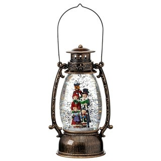 """9.5"""" LED Battery Operated Carolers Lantern Water Globe with Timer"""