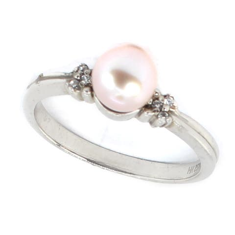 Michael Valitutti 10k Pink Pearl & White Zircon Ring