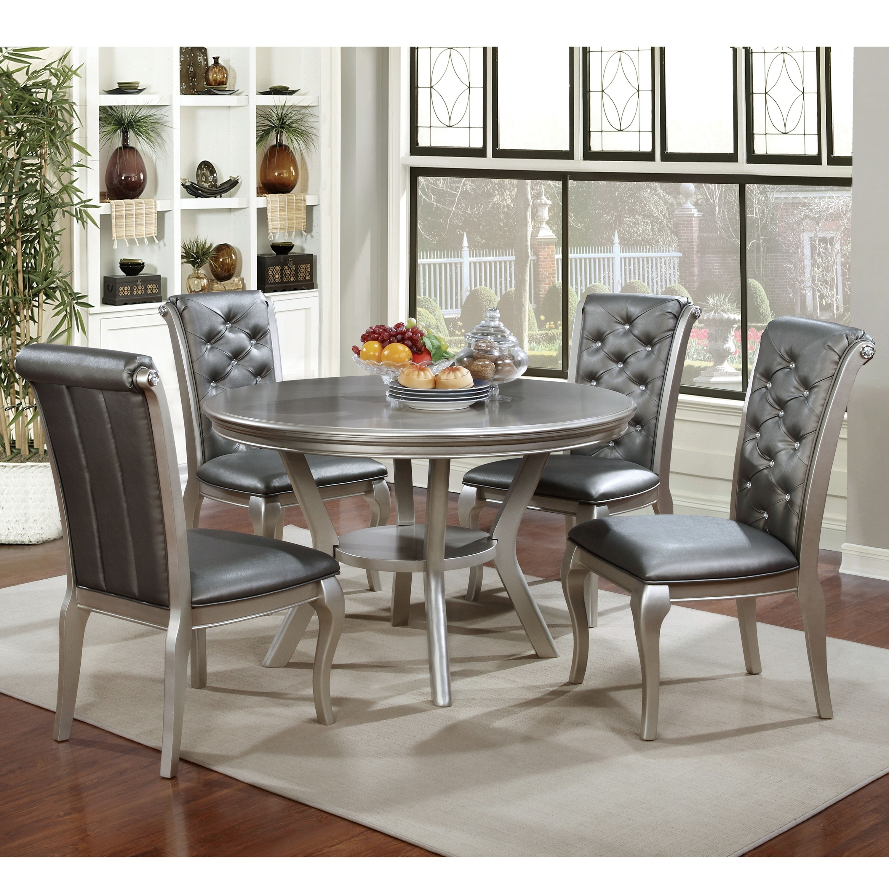 Furniture Of America Tily Glam Gold Solid Wood 5 Piece Dining Set Overstock 25363174