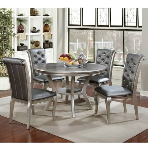 Furniture of America Tily Glam Gold Solid Wood 5-piece Dining Set