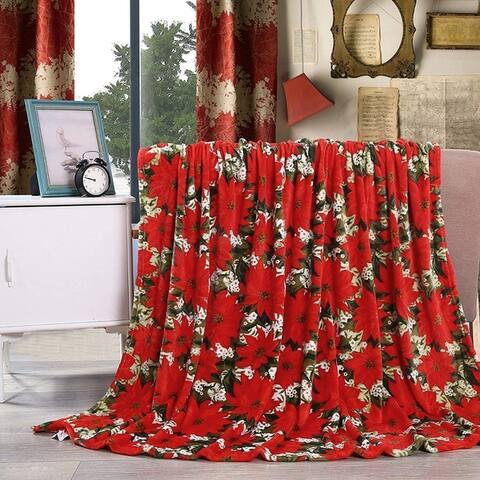 Elegant Comfort Holiday Printed Fleece Throw/Blanket-50 x 60inch