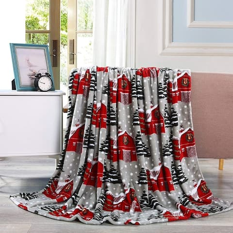 Elegant Comfort Holiday Printed Fleece Throw/Blanket-50 x 60inch