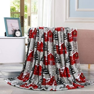 Elegant Comfort Holiday Printed Fleece Throw/Blanket-50 x 60inch - 50 x 60