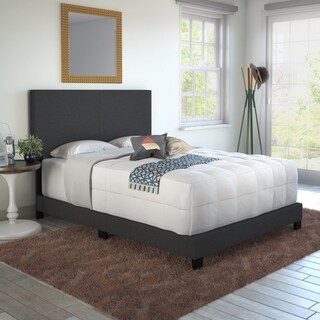 Sleep Sync Tivoli Black Linen Upholstered Platform Bed Frame in four sizes