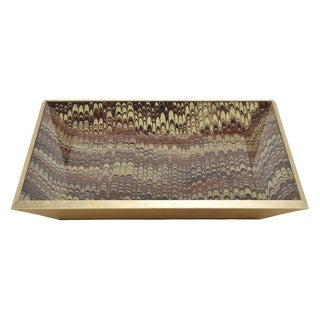 Three Hands 2-inch Brown and Gold Glass Decorative Tray