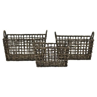 """12.5"""" Set Of Three Water Hyacinth Baskets By Three Hands"""
