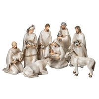 "8 Piece Set of 4.5-6.5"" Resin Frosted Nativity"