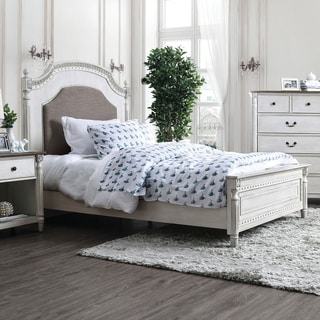 Adelaide Transitional Antique White Panel Bed by FOA