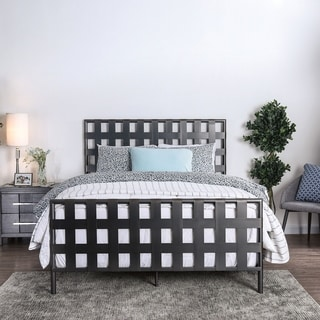 Furniture of America Byer Industrial Grey Metal Lattice Bed