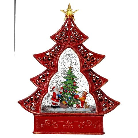 """11.5"""" LED Battery Operated santa/kids tree water globe with timer"""