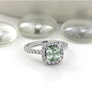 Auriya 3 4ct Cushion Cut Green Amethyst And Halo Diamond Engagement Ring 1 2cttw 14k Gold