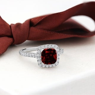 Auriya 1 1 4ct Cushion Cut Garnet And Halo Diamond Engagement Ring 1 2cttw 14k Gold