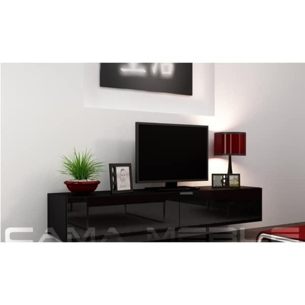 Shop Vigo High Gloss Floating Tv Stand Black On Sale Free