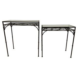 "26"" Set Of Two Metal Glass Top Tables By Three Hands"