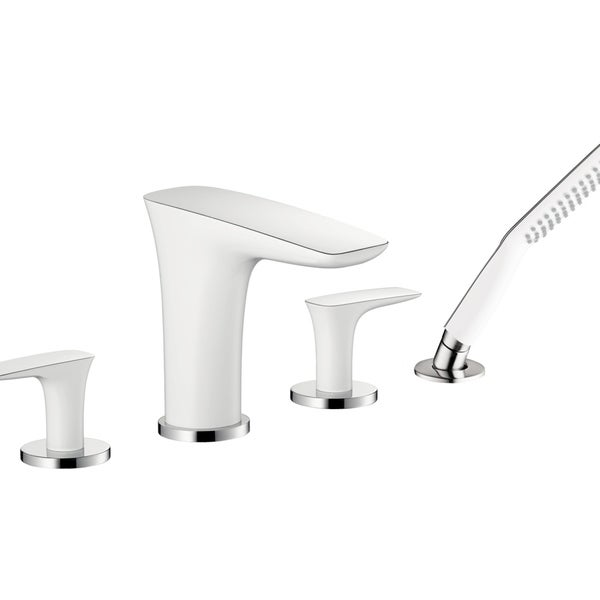 Hansgrohe PuraVida 4-Hole Roman Tub Set Trim with 2.0 GPM Handshower White/Chrome