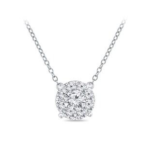 14k Gold Round Shaped 1 10ct TDW Pave Diamond Necklace By Auriya
