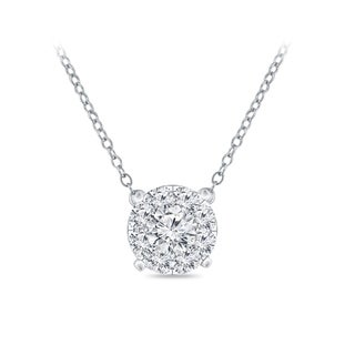 14k Gold Round Shaped 1/10ct TDW Pave Diamond Necklace by Auriya