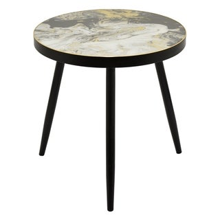 Three Hands Black Wood End Table