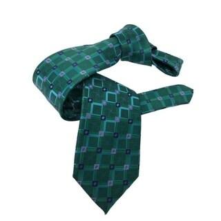 DMITRY Green Patterned Italian Silk Tie