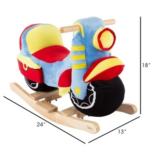 Rocking Motorcycle Toy Kids Plush Stuffed Ride On Wooden Rocker by Happy Trails