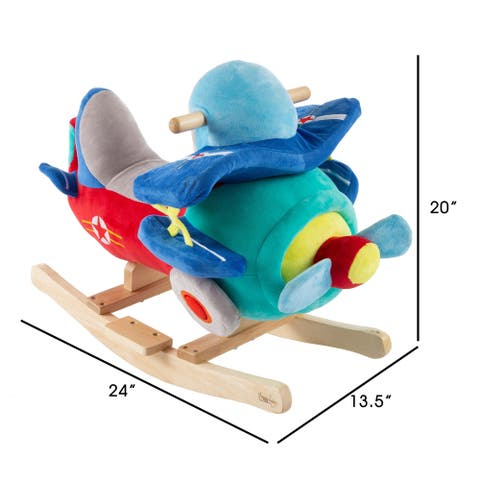 Rocking Plane Toy Kids Plush Stuffed Ride On by Happy Trails