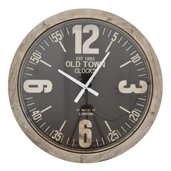 Three Hands Brown Wood Wall Clock