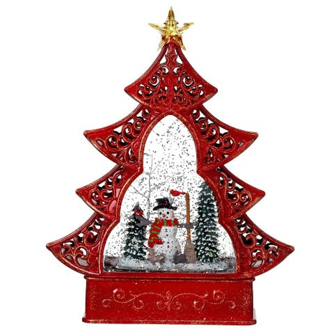 """11.5"""" LED Battery Operated Snowman Tree Water Globe with Timer"""