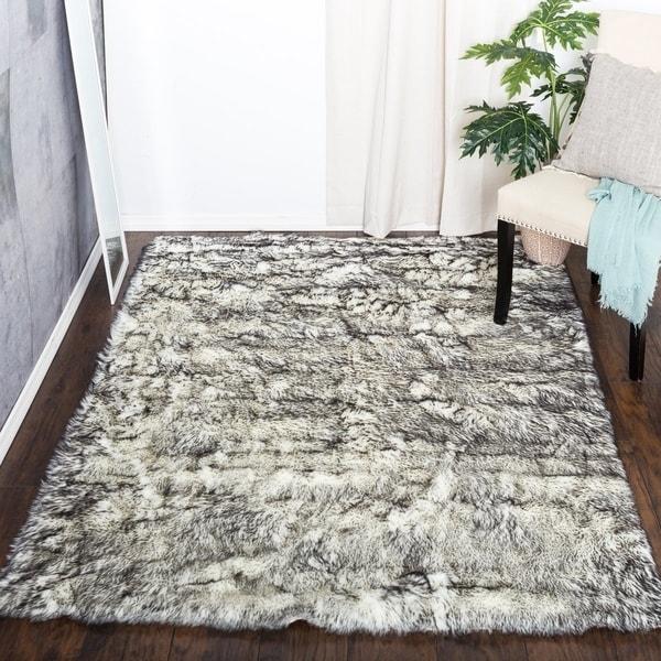 Shop Black Fluffy Soft Thick Warm Faux Sheepskin Area Rug