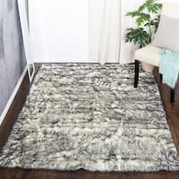 Black Fluffy Soft Thick Warm Faux Sheepskin Area Rug For Bedroom Home