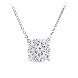 14k Gold Cushion Shaped 3 8ct TDW Pave Diamond Necklace By Auriya