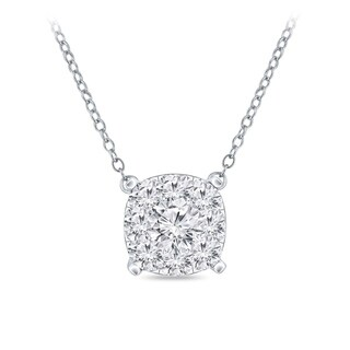 14k Gold Cushion Shaped 1/3ct TDW Pave Diamond Necklace by Auriya