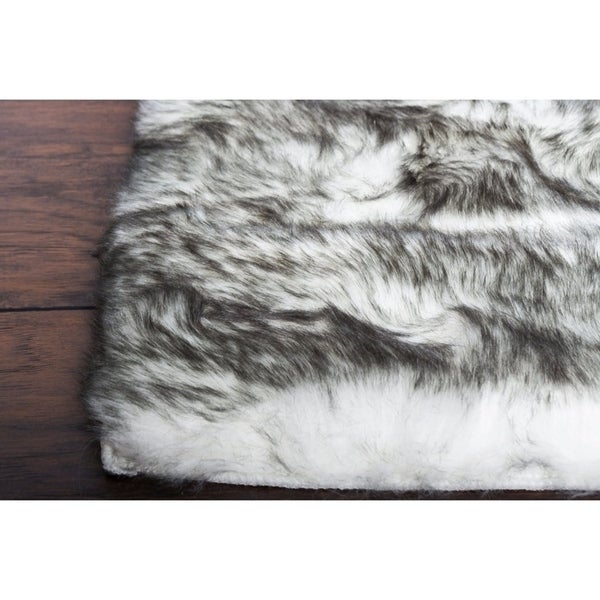 Grey Fluffy Soft Thick Warm Faux Sheepskin Area Rug For Bedroom Home