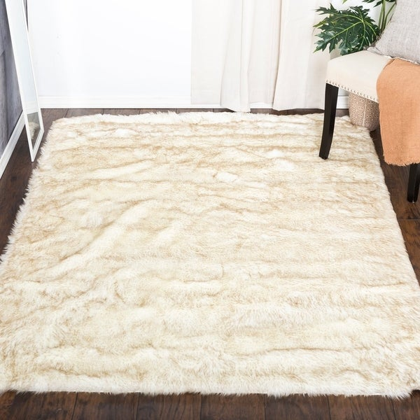 White Fluffy Soft Thick Warm Faux Sheepskin Area Rug For Bedroom Home