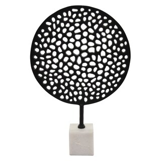 """24.25"""" Metal Round Sculpture With Marble Base By Three Hands"""