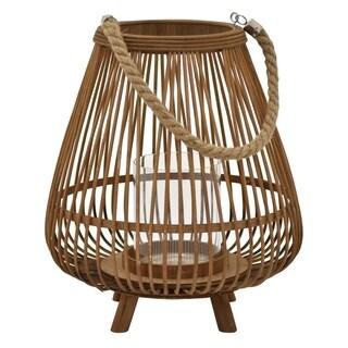 "13.25"" Decorative Bamboo Lantern By Three Hands"