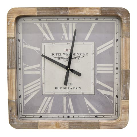 Three Hands Brown Wood 25-inch Wall Clock