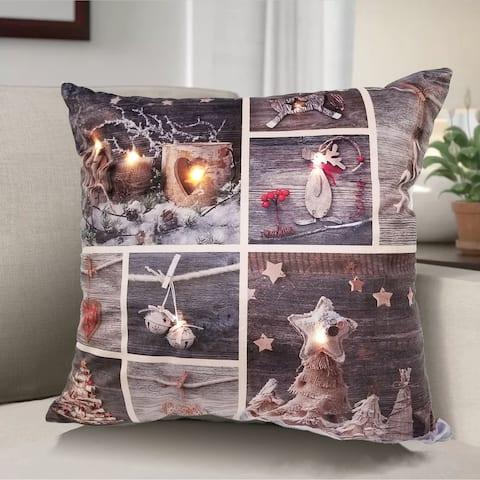 Patchwork LED pillow 18x18