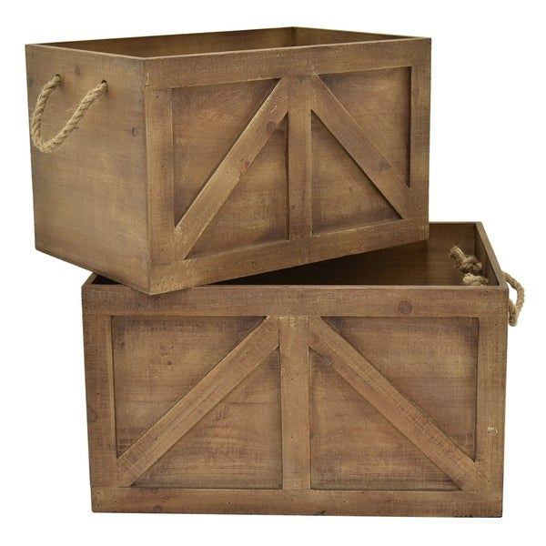 """11"""" Set Of Two Wood Storage Baskets By Three Hands"""