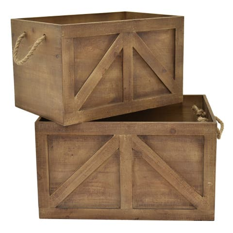 "11"" Set Of Two Wood Storage Baskets By Three Hands"