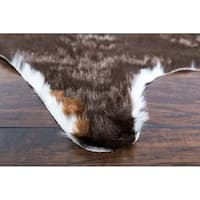 """White Brown Faux Cow Hide Area Rug For Bedroom 5' x 6'6"""" - 5' x 6'6"""""""