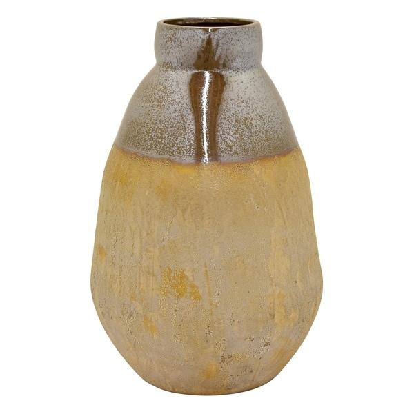 Three Hands Brown Ceramic 25-inch Handmade Table Vase