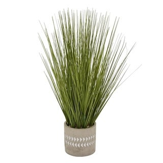 """21"""" Faux Grass In Flower Pot By Three Hands"""