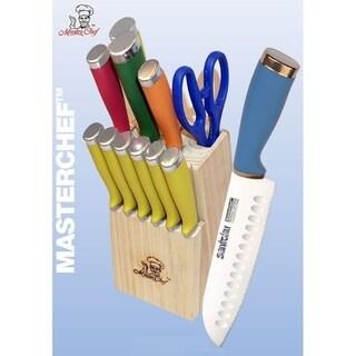 13pc Colorful Santoku Knife Cutlery Set w/Block & Steak Knives