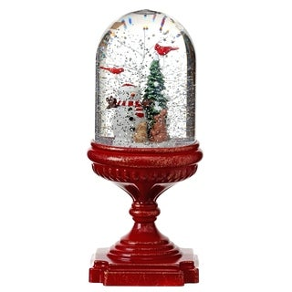 """10.5""""LED Snowman Pedestal Water Globe Battery Operated with Timer"""