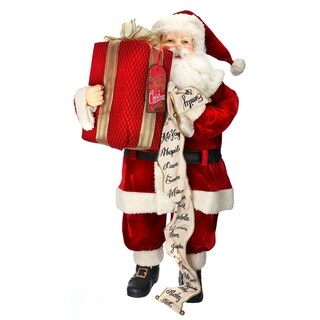 "36"" velvet santa w/package and list"