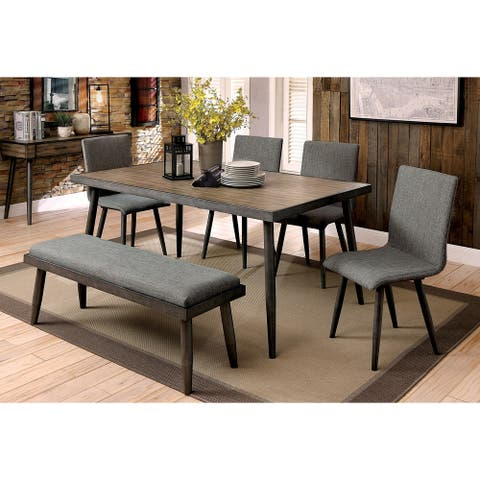 Furniture of America Macon 6-Piece Dining Table Set with Bench