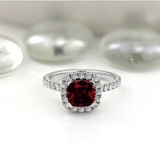 Auriya 1 3 8ct Cushion Cut Garnet And Halo Diamond Engagement Ring 1 2cttw 14k Gold