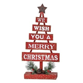 """16""""Resin""""wish you a merry christmas"""" sign tree"""