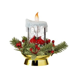 """8""""LED Battery Operated Deco Cardinal Candle Water Globe with Timer"""